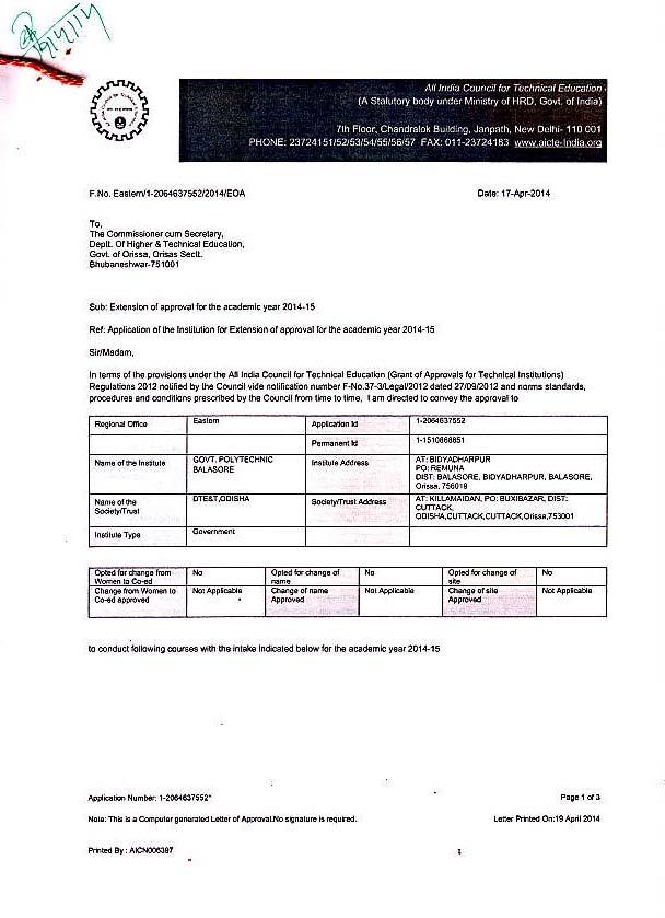 AICTE Approval-EOA-14-15